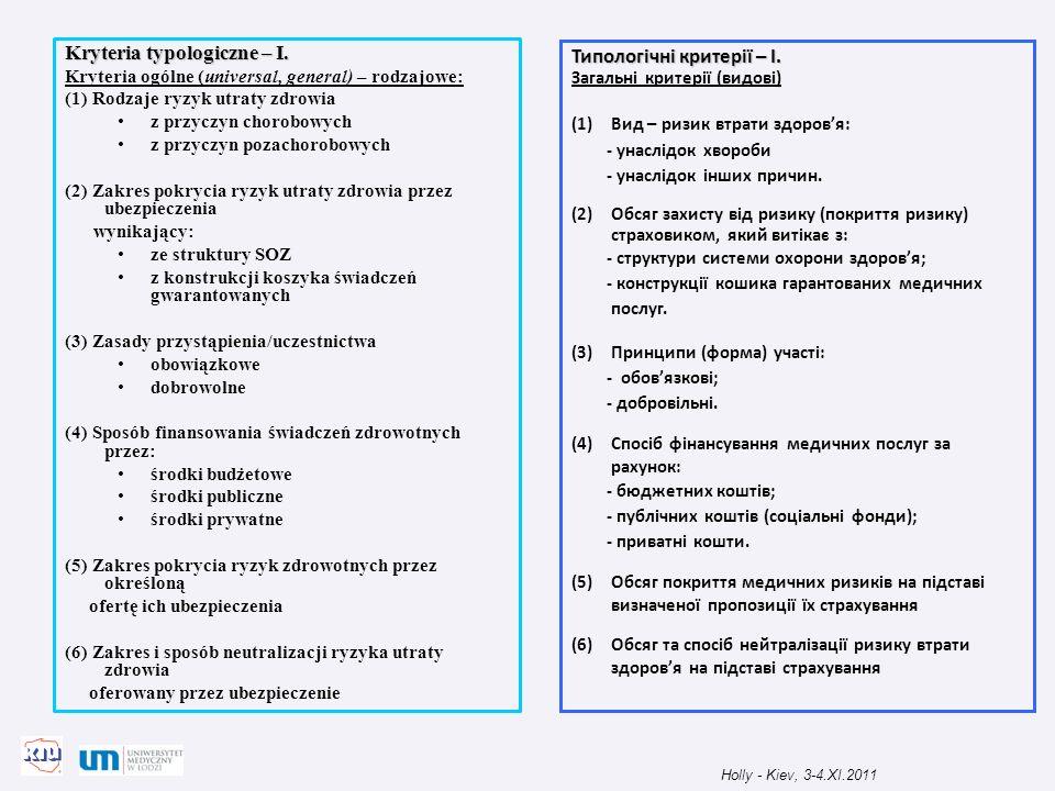 Kryteria typologiczne – I. Kryteria ogólne (universal, general) – rodzajowe: (1) Rodzaje ryzyk utraty zdrowia z przyczyn chorobowych z przyczyn pozach