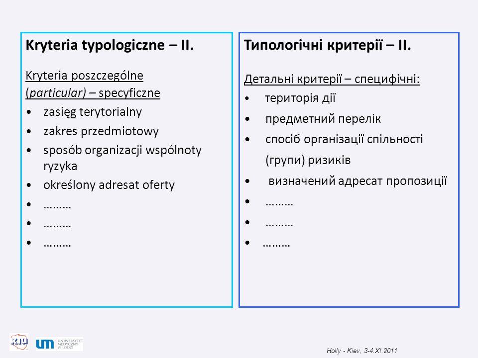 Kryteria typologiczne – II. Kryteria poszczególne (particular) – specyficzne zasięg terytorialny zakres przedmiotowy sposób organizacji wspólnoty ryzy
