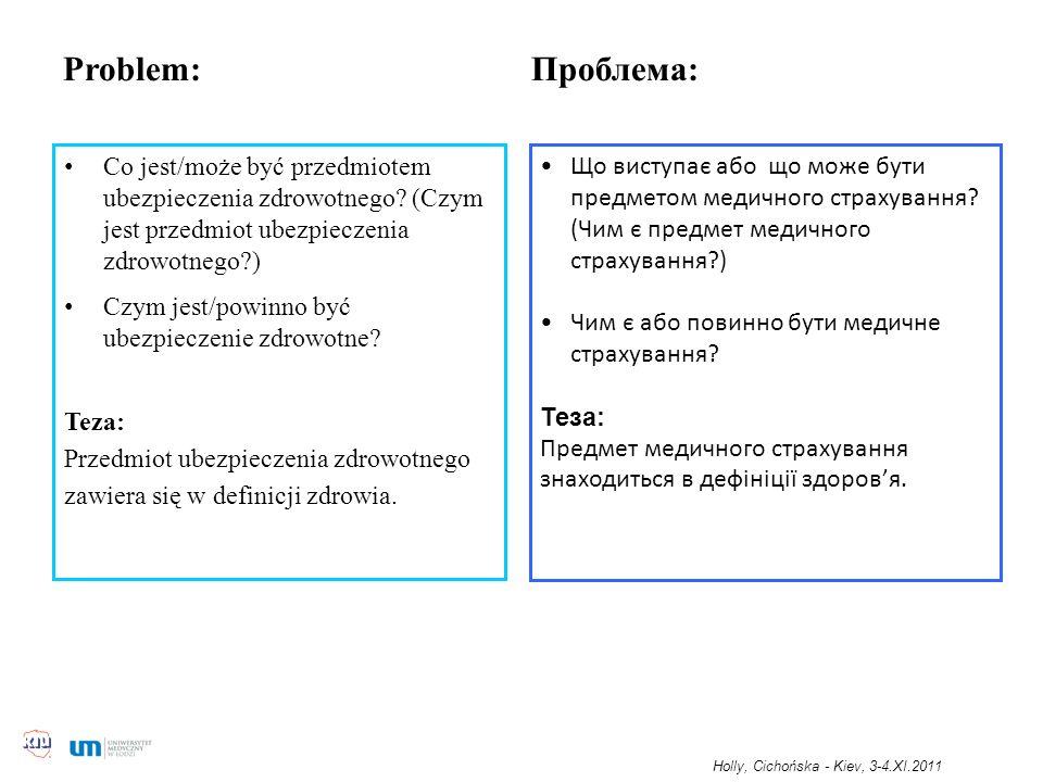 Problem: Проблема: Co jest/może być przedmiotem ubezpieczenia zdrowotnego? (Czym jest przedmiot ubezpieczenia zdrowotnego?) Czym jest/powinno być ubez