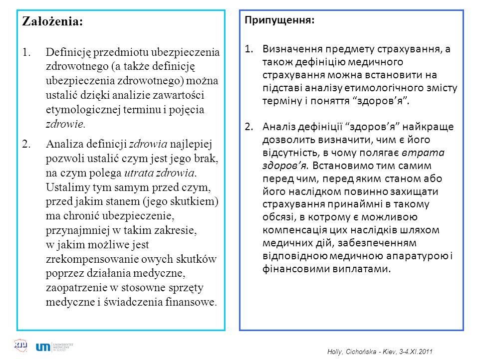 Założenia: 1.Definicję przedmiotu ubezpieczenia zdrowotnego (a także definicję ubezpieczenia zdrowotnego) można ustalić dzięki analizie zawartości etymologicznej terminu i pojęcia zdrowie.