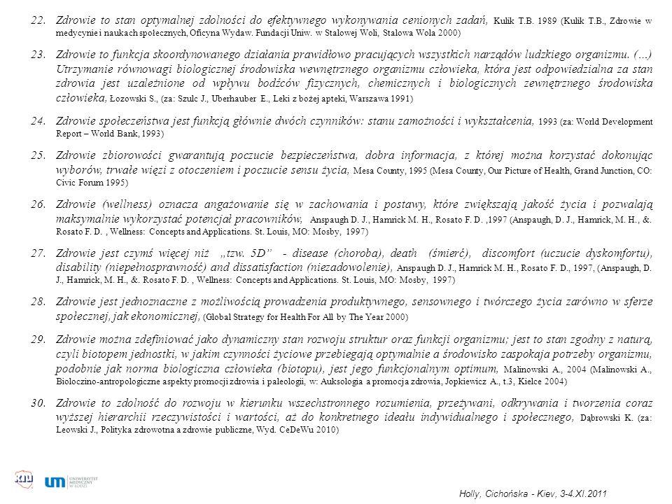 22.Zdrowie to stan optymalnej zdolności do efektywnego wykonywania cenionych zadań, Kulik T.B. 1989 (Kulik T.B., Zdrowie w medycynie i naukach społecz