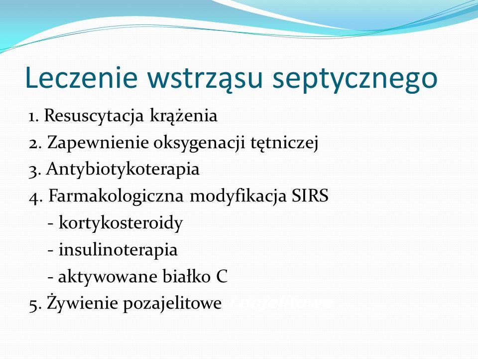 Leczenie wstrząsu septycznego 1. Resuscytacja krążenia 2. Zapewnienie oksygenacji tętniczej 3. Antybiotykoterapia 4. Farmakologiczna modyfikacja SIRS