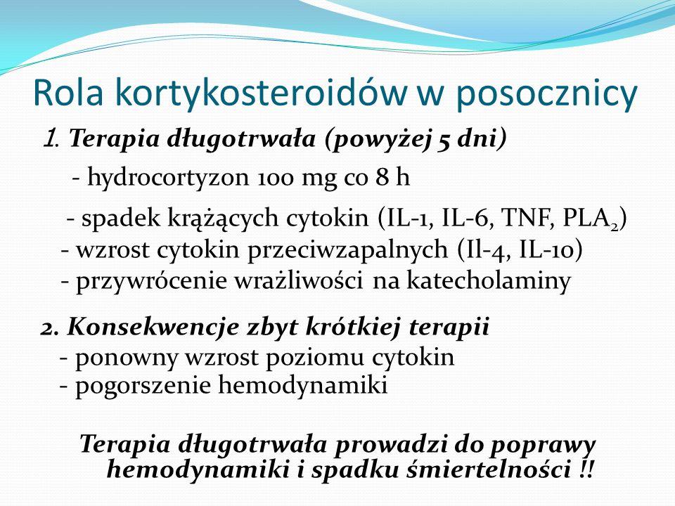 Rola kortykosteroidów w posocznicy 1. Terapia długotrwała (powyżej 5 dni) - hydrocortyzon 100 mg co 8 h - spadek krążących cytokin (IL-1, IL-6, TNF, P
