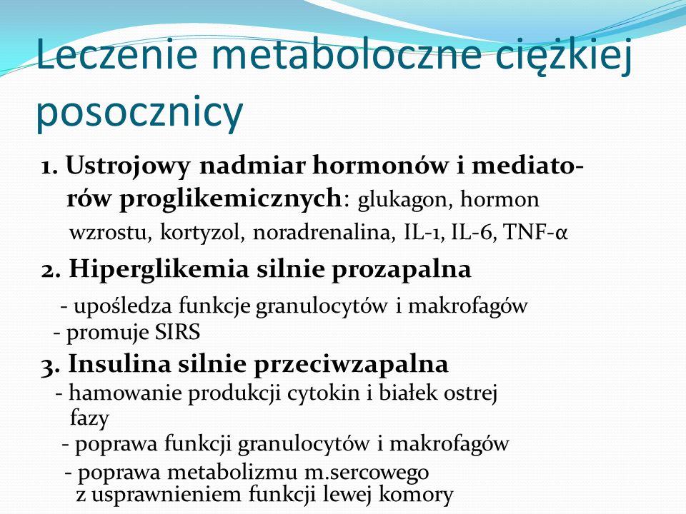 Leczenie metaboloczne ciężkiej posocznicy 1. Ustrojowy nadmiar hormonów i mediato- rów proglikemicznych: glukagon, hormon wzrostu, kortyzol, noradrena