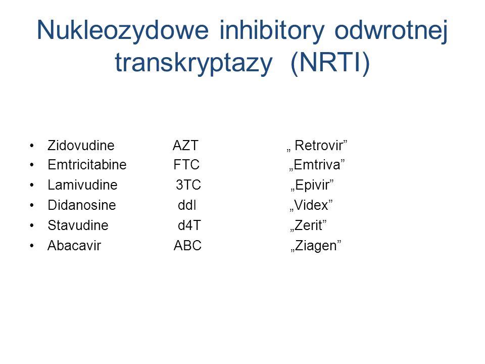 Nukleozydowe inhibitory odwrotnej transkryptazy (NRTI) Zidovudine AZT Retrovir Emtricitabine FTC Emtriva Lamivudine 3TC Epivir Didanosine ddI Videx St