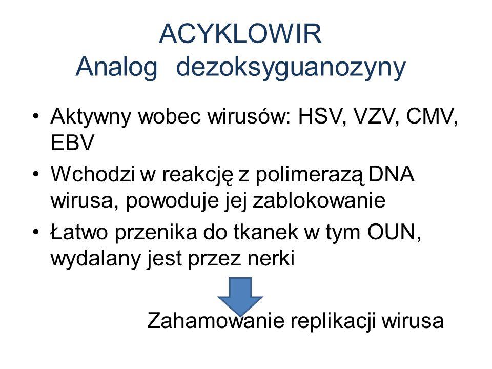 ACYKLOWIR Analog dezoksyguanozyny Aktywny wobec wirusów: HSV, VZV, CMV, EBV Wchodzi w reakcję z polimerazą DNA wirusa, powoduje jej zablokowanie Łatwo