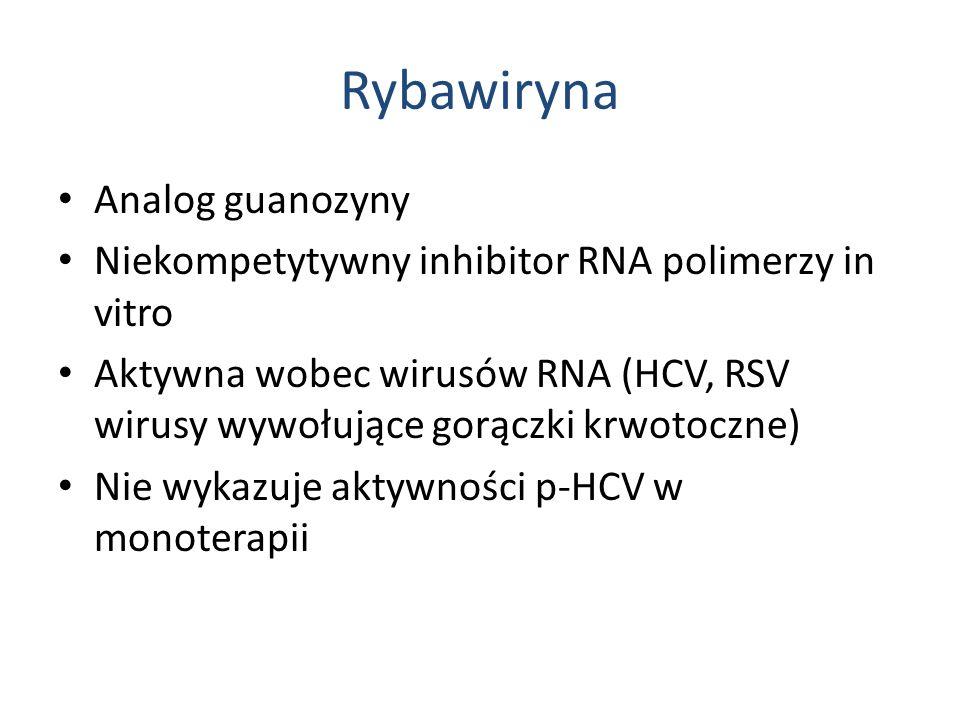 Rybawiryna Analog guanozyny Niekompetytywny inhibitor RNA polimerzy in vitro Aktywna wobec wirusów RNA (HCV, RSV wirusy wywołujące gorączki krwotoczne