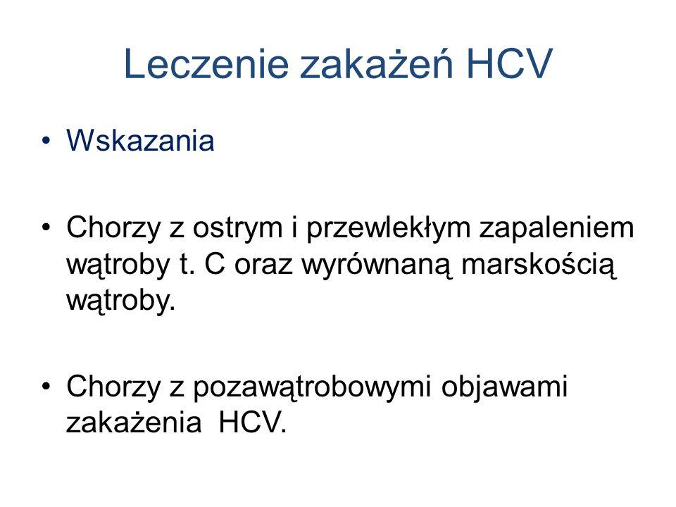 Leczenie zakażeń HCV Wskazania Chorzy z ostrym i przewlekłym zapaleniem wątroby t. C oraz wyrównaną marskością wątroby. Chorzy z pozawątrobowymi objaw