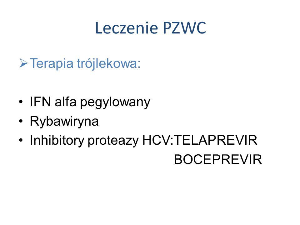 Leczenie PZWC Terapia trójlekowa: IFN alfa pegylowany Rybawiryna Inhibitory proteazy HCV:TELAPREVIR BOCEPREVIR