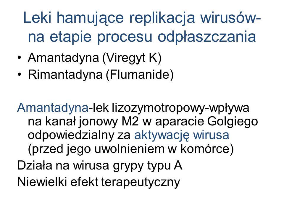 Leki hamujące replikacja wirusów- na etapie procesu odpłaszczania Amantadyna (Viregyt K) Rimantadyna (Flumanide) Amantadyna-lek lizozymotropowy-wpływa