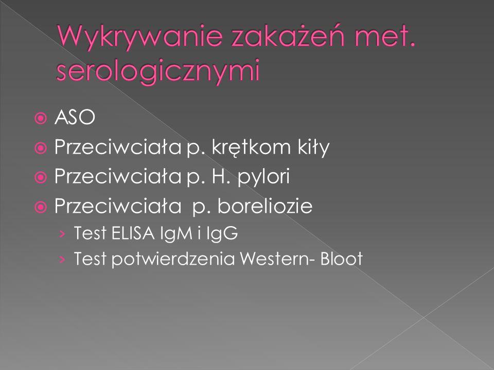 ASO Przeciwciała p. krętkom kiły Przeciwciała p. H. pylori Przeciwciała p. boreliozie Test ELISA IgM i IgG Test potwierdzenia Western- Bloot