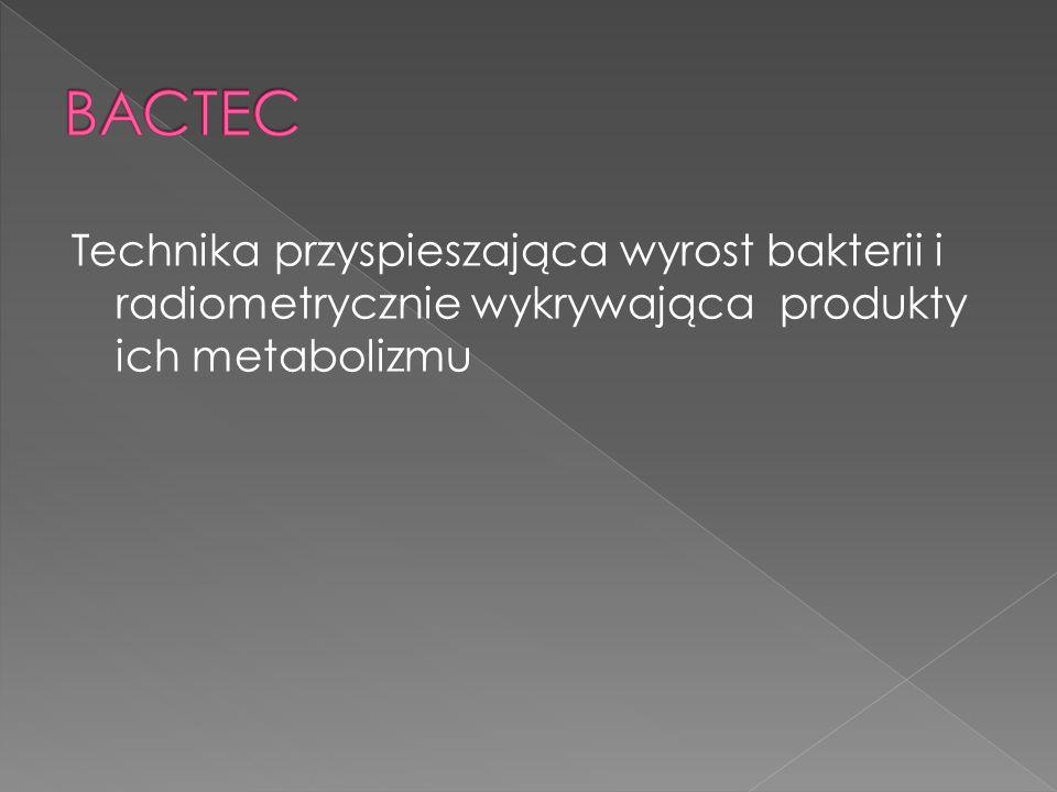 Technika przyspieszająca wyrost bakterii i radiometrycznie wykrywająca produkty ich metabolizmu