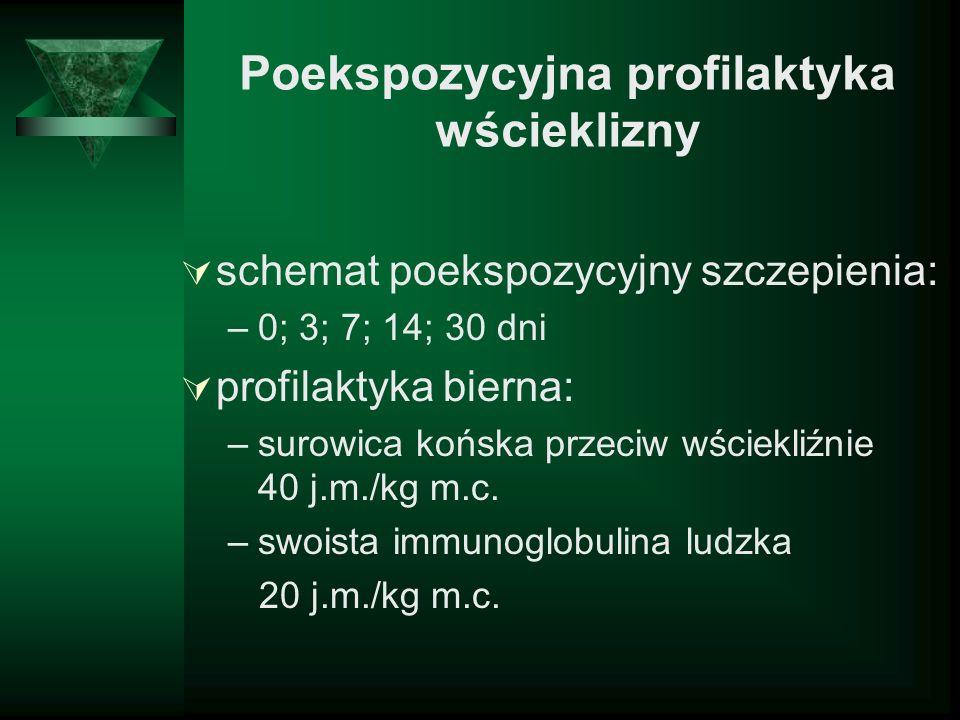 Poekspozycyjna profilaktyka wścieklizny schemat poekspozycyjny szczepienia: –0; 3; 7; 14; 30 dni profilaktyka bierna: –surowica końska przeciw wściekl