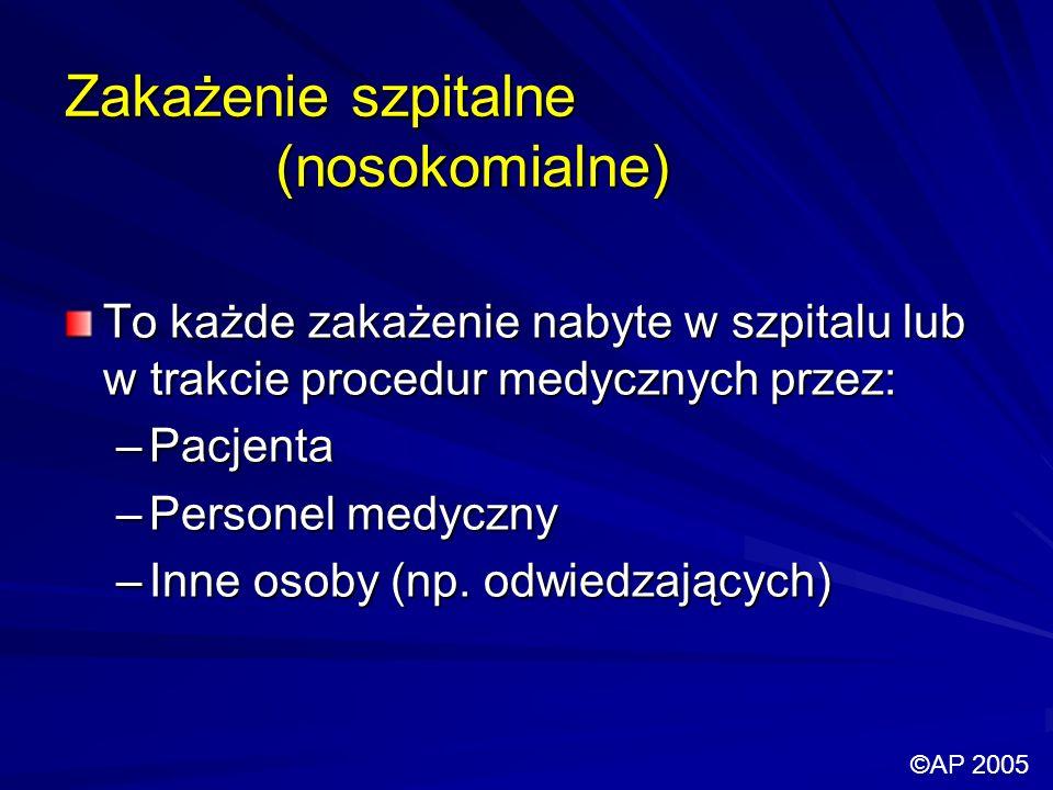 Zakażenie szpitalne (nosokomialne) To każde zakażenie nabyte w szpitalu lub w trakcie procedur medycznych przez: –Pacjenta –Personel medyczny –Inne osoby (np.
