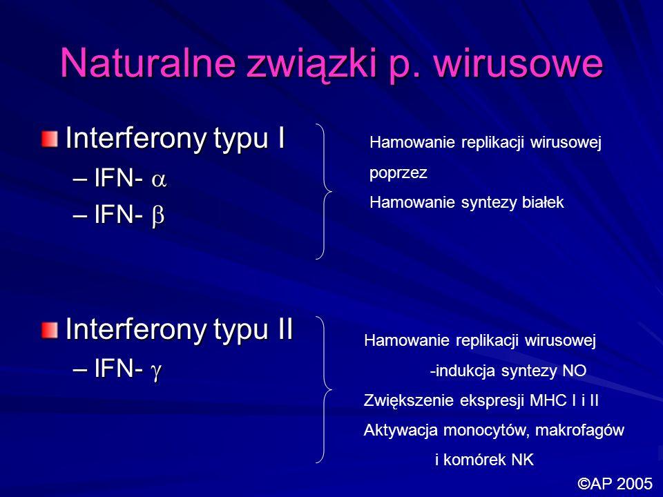 Naturalne związki p. wirusowe Interferony typu I –IFN- –IFN- Interferony typu II –IFN- –IFN- Hamowanie replikacji wirusowej poprzez Hamowanie syntezy