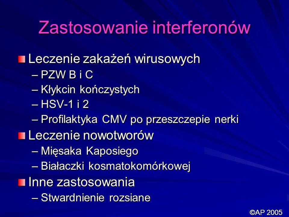 Zastosowanie interferonów Leczenie zakażeń wirusowych –PZW B i C –Kłykcin kończystych –HSV-1 i 2 –Profilaktyka CMV po przeszczepie nerki Leczenie nowo