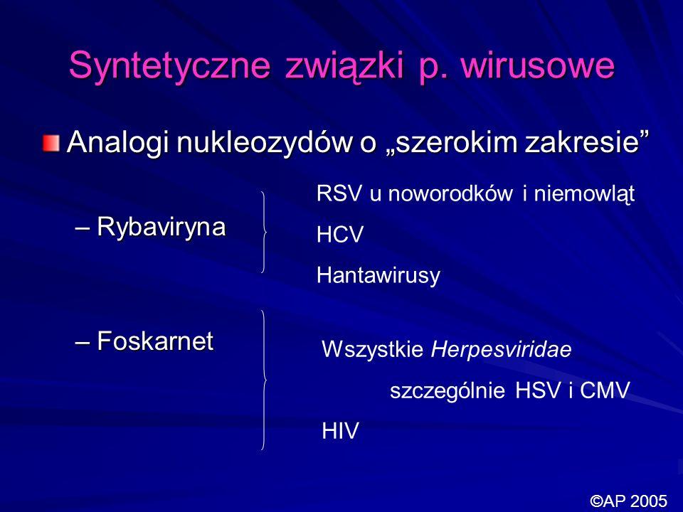 Syntetyczne związki p. wirusowe Analogi nukleozydów o szerokim zakresie –Rybaviryna –Foskarnet RSV u noworodków i niemowląt HCV Hantawirusy Wszystkie