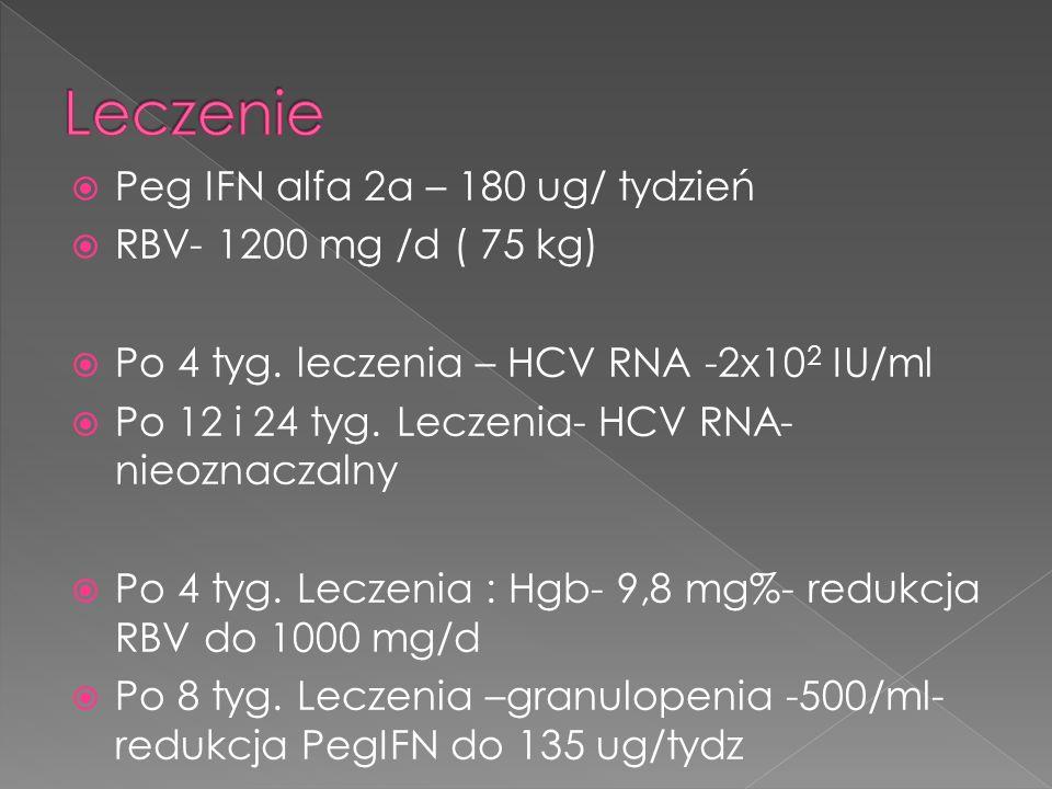Peg IFN alfa 2a – 180 ug/ tydzień RBV- 1200 mg /d ( 75 kg) Po 4 tyg. leczenia – HCV RNA -2x10 2 IU/ml Po 12 i 24 tyg. Leczenia- HCV RNA- nieoznaczalny