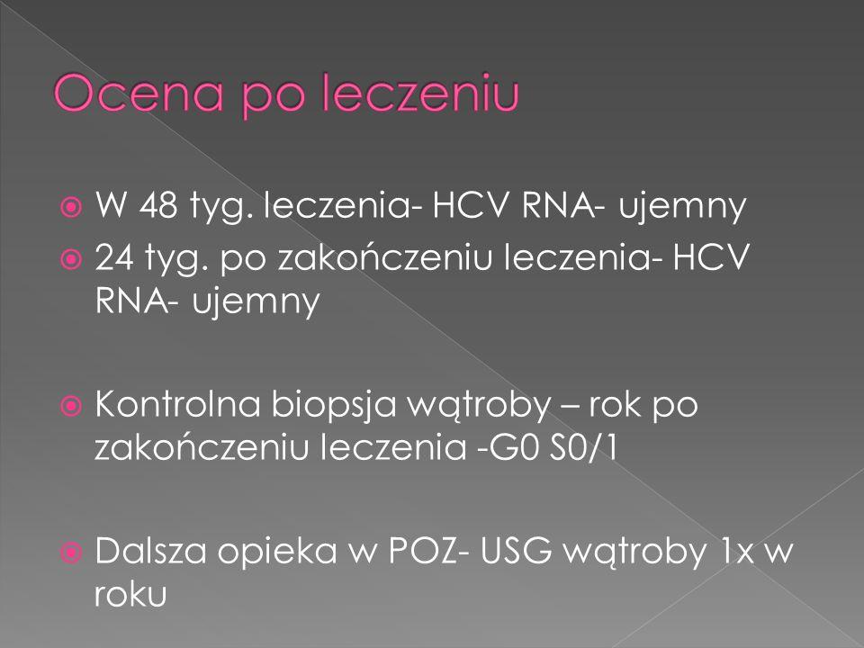 W 48 tyg. leczenia- HCV RNA- ujemny 24 tyg. po zakończeniu leczenia- HCV RNA- ujemny Kontrolna biopsja wątroby – rok po zakończeniu leczenia -G0 S0/1