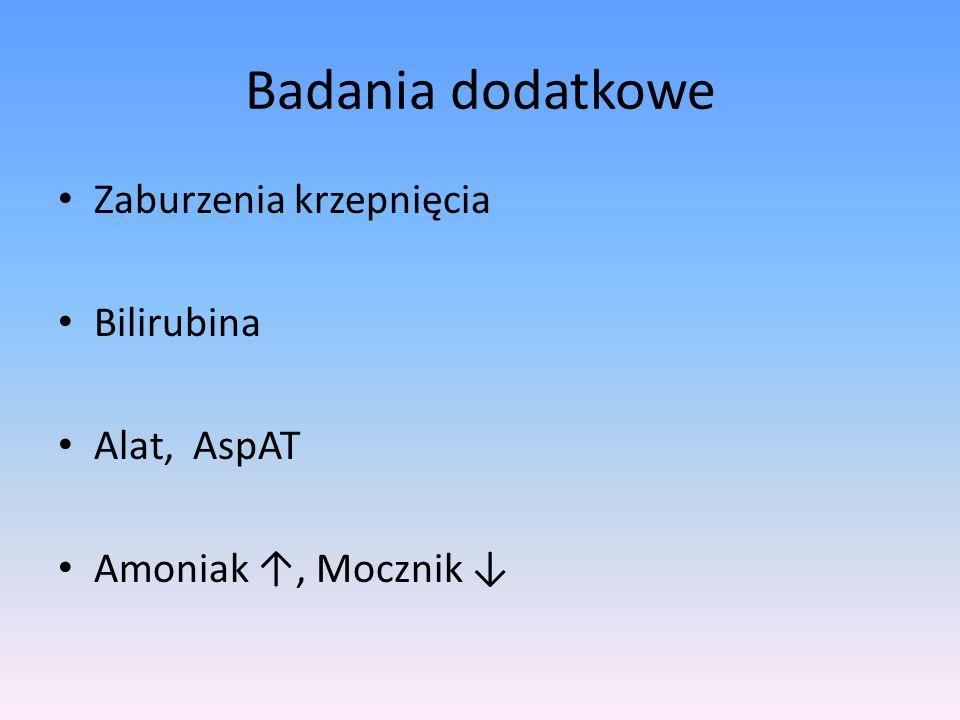 Badania dodatkowe Zaburzenia krzepnięcia Bilirubina Alat, AspAT Amoniak, Mocznik