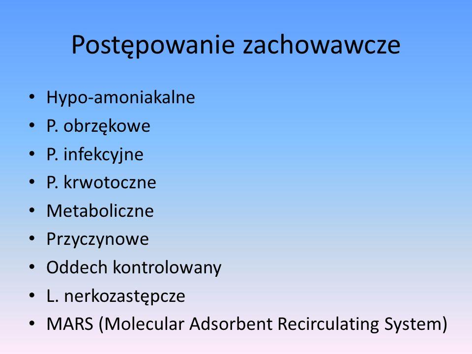Postępowanie zachowawcze Hypo-amoniakalne P. obrzękowe P. infekcyjne P. krwotoczne Metaboliczne Przyczynowe Oddech kontrolowany L. nerkozastępcze MARS