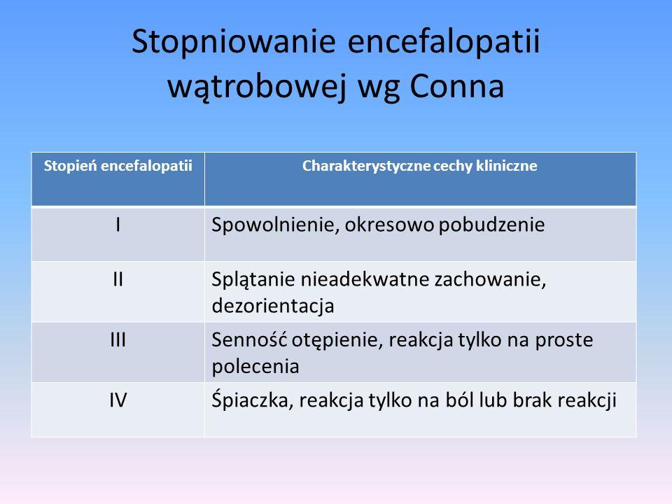 Stopniowanie encefalopatii wątrobowej wg Conna Stopień encefalopatiiCharakterystyczne cechy kliniczne ISpowolnienie, okresowo pobudzenie IISplątanie n