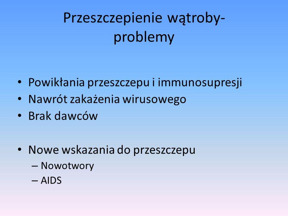Przeszczepienie wątroby- problemy Powikłania przeszczepu i immunosupresji Nawrót zakażenia wirusowego Brak dawców Nowe wskazania do przeszczepu – Nowo