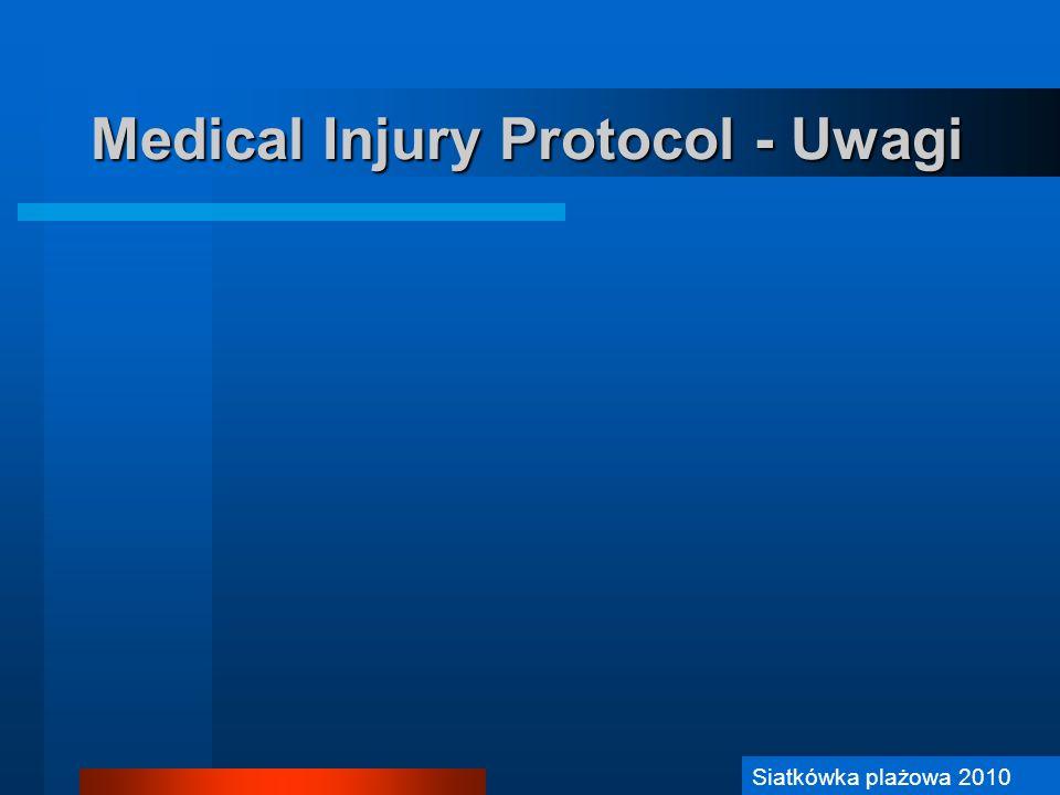 Siatkówka Plażowa 2006 Medical Injury Protocol - Uwagi Siatkówka plażowa 2010