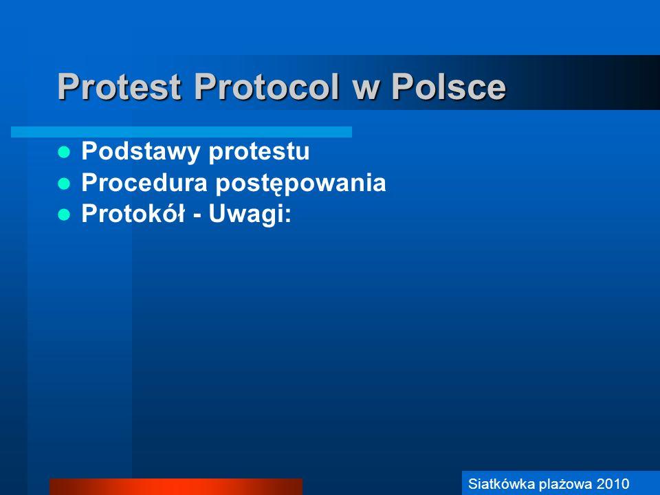 Siatkówka Plażowa 2006 Protest Protocol w Polsce Podstawy protestu Procedura postępowania Protokół - Uwagi: Siatkówka plażowa 2010