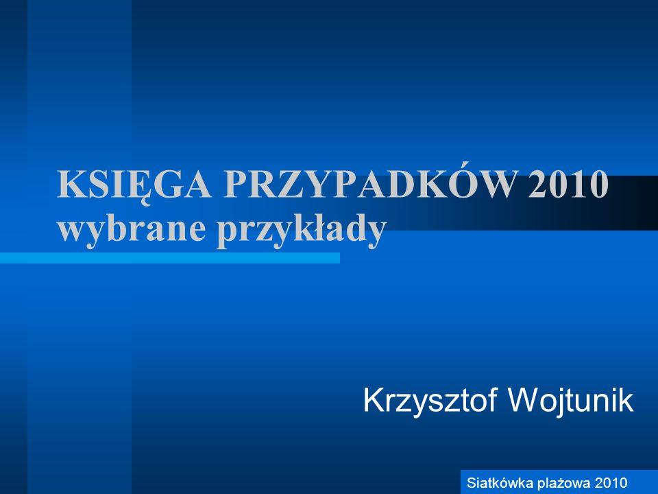 KSIĘGA PRZYPADKÓW 2010 wybrane przykłady Krzysztof Wojtunik Siatkówka plażowa 2010