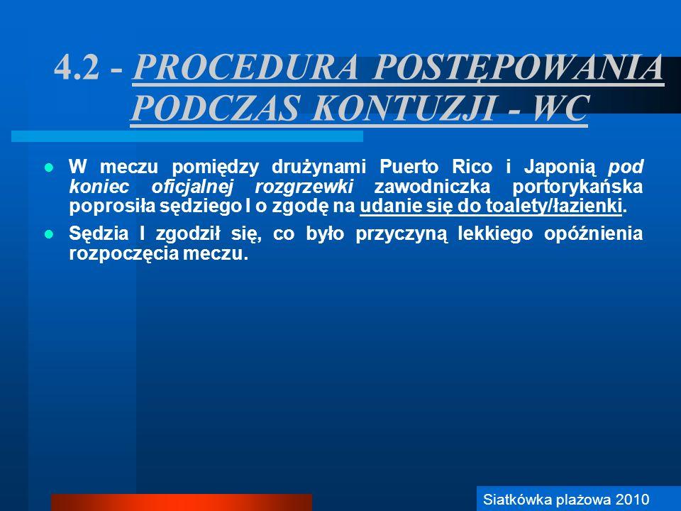 4.2 - PROCEDURA POSTĘPOWANIA PODCZAS KONTUZJI - WC W meczu pomiędzy drużynami Puerto Rico i Japonią pod koniec oficjalnej rozgrzewki zawodniczka porto