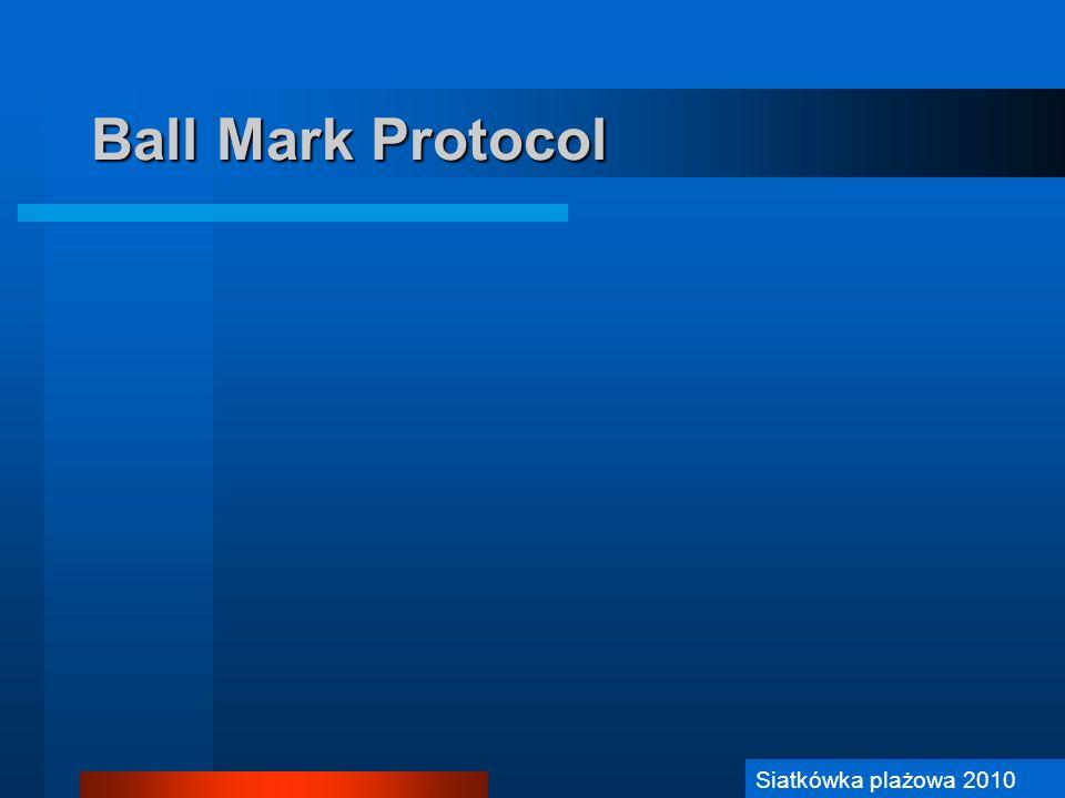 Siatkówka Plażowa 2006 Ball Mark Protocol (1) Sędzia PIERWSZY: Szybkie podjęcie decyzji czy zainicjować Procedurę.