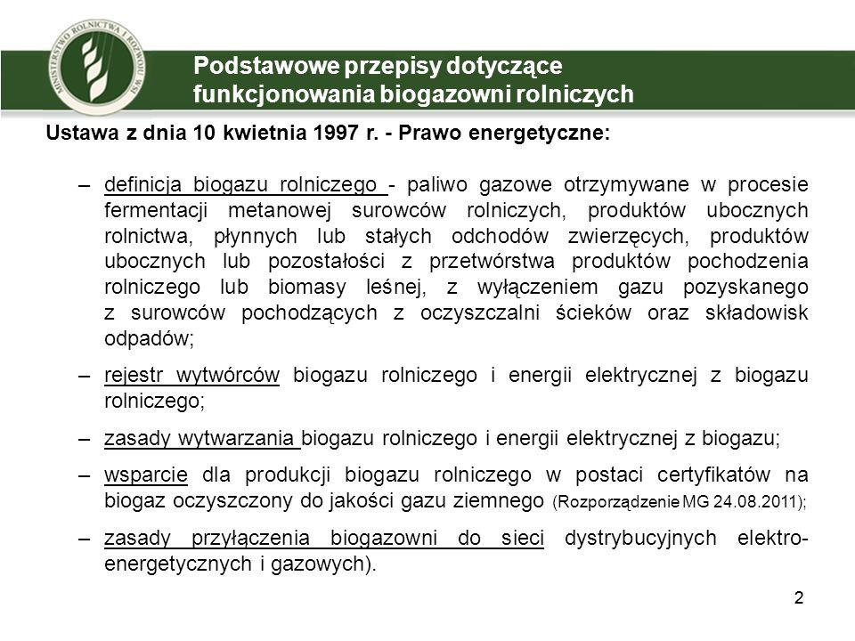 Podstawowe przepisy dotyczące funkcjonowania biogazowni rolniczych Ustawa z dnia 10 kwietnia 1997 r.