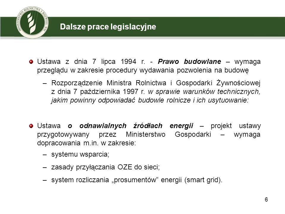 Uregulowano kwestie związane z warunkami technicznymi i lokalizacją zbiorników na produkty pofermentacyjne w postaci płynnej, co w obowiązujących przepisach nie było uregulowane; Zniesiono wymóg zachowania odległości 15 metrów pomiędzy komorami fermentacyjnymi i zbiornikami biogazu rolniczego funkcjonującymi w ramach jednej instalacji; Uchylono przepis, który stanowił, że zbiorniki biogazu i komory fermentacyjne o pojemności większej niż 100 m³ powinny być lokalizowane na działkach przeznaczonych wyłącznie dla biogazowni; Odległości stref bezpieczeństwa odniesiono do pojemności całej instalacji służącej do otrzymywana biogazu rolniczego, a nie poszczególnych zbiorników biogazu i komór fermentacyjnych, jak to ma miejsce w obowiązujących przepisach.