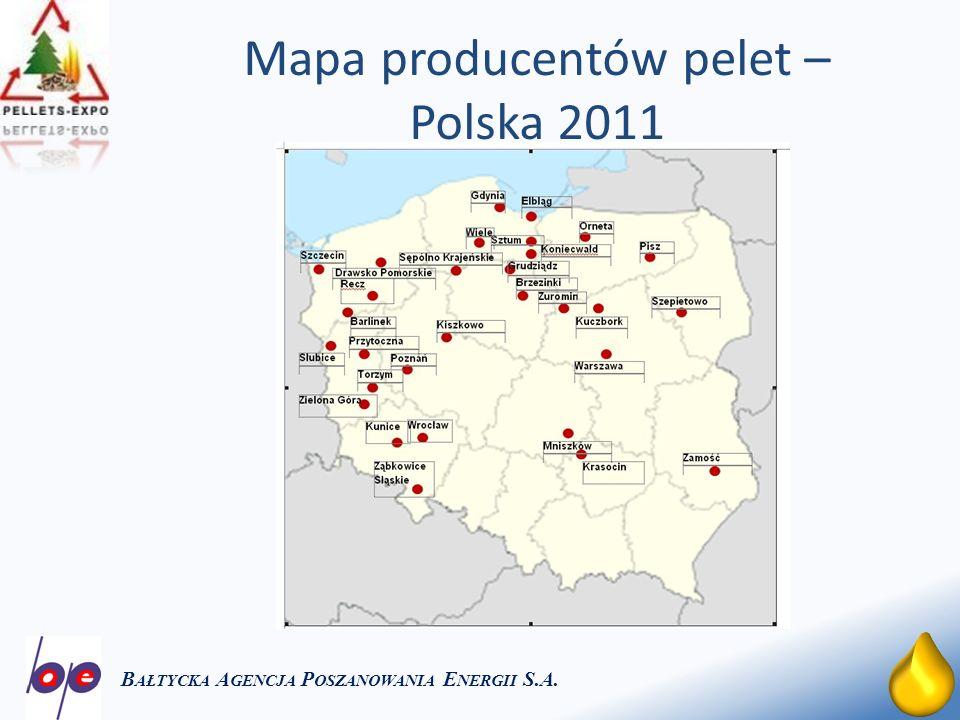 17 Mapa producentów pelet – Polska 2011 B AŁTYCKA A GENCJA P OSZANOWANIA E NERGII S.A.