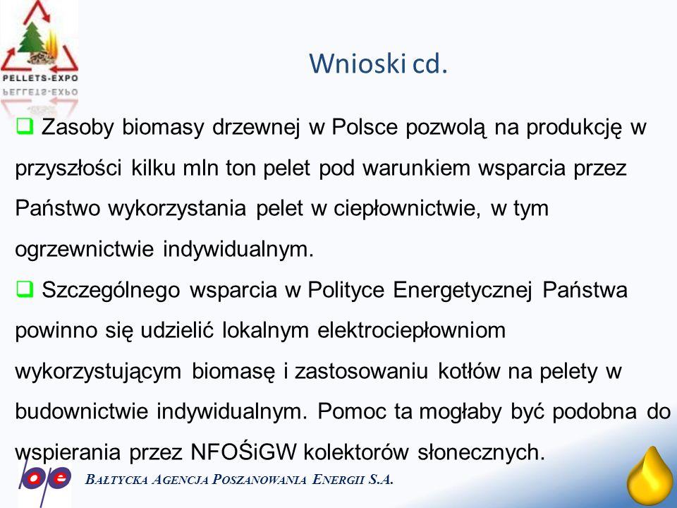 26 Wnioski cd. B AŁTYCKA A GENCJA P OSZANOWANIA E NERGII S.A. Zasoby biomasy drzewnej w Polsce pozwolą na produkcję w przyszłości kilku mln ton pelet