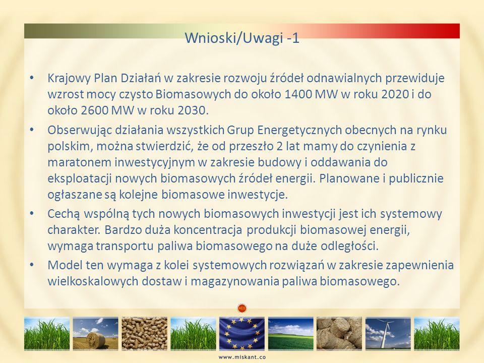 Wnioski/Uwagi -1 Krajowy Plan Działań w zakresie rozwoju źródeł odnawialnych przewiduje wzrost mocy czysto Biomasowych do około 1400 MW w roku 2020 i