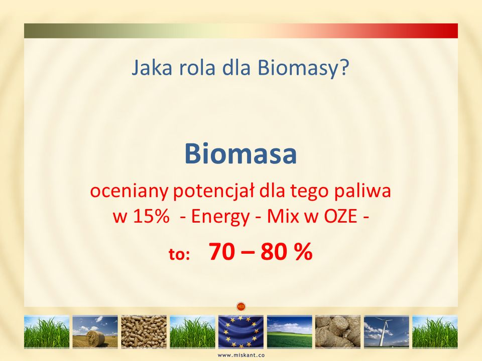 Jaka rola dla Biomasy? Biomasa oceniany potencjał dla tego paliwa w 15% - Energy - Mix w OZE - to: 70 – 80 %