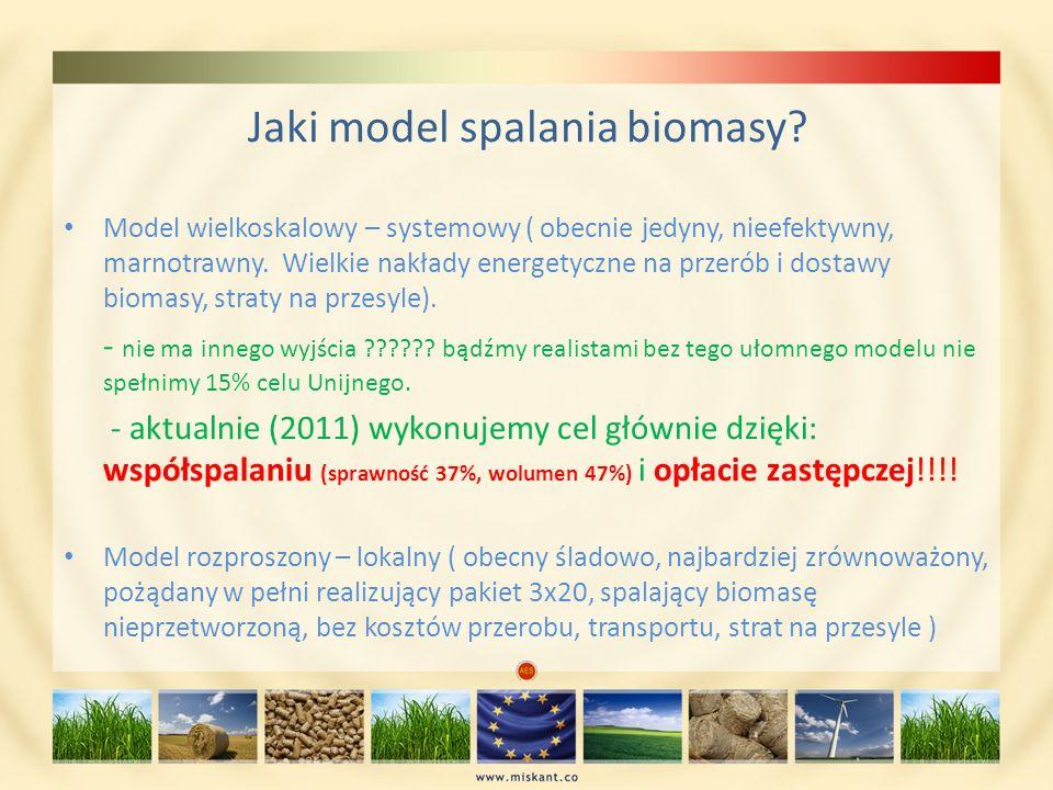 Jaki model spalania biomasy? Model wielkoskalowy – systemowy ( obecnie jedyny, nieefektywny, marnotrawny. Wielkie nakłady energetyczne na przerób i do