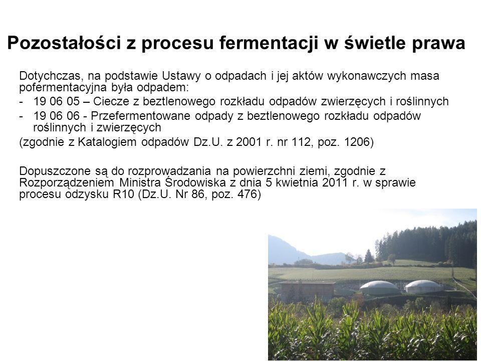 Pozostałości z procesu fermentacji w świetle prawa Dotychczas, na podstawie Ustawy o odpadach i jej aktów wykonawczych masa pofermentacyjna była odpad