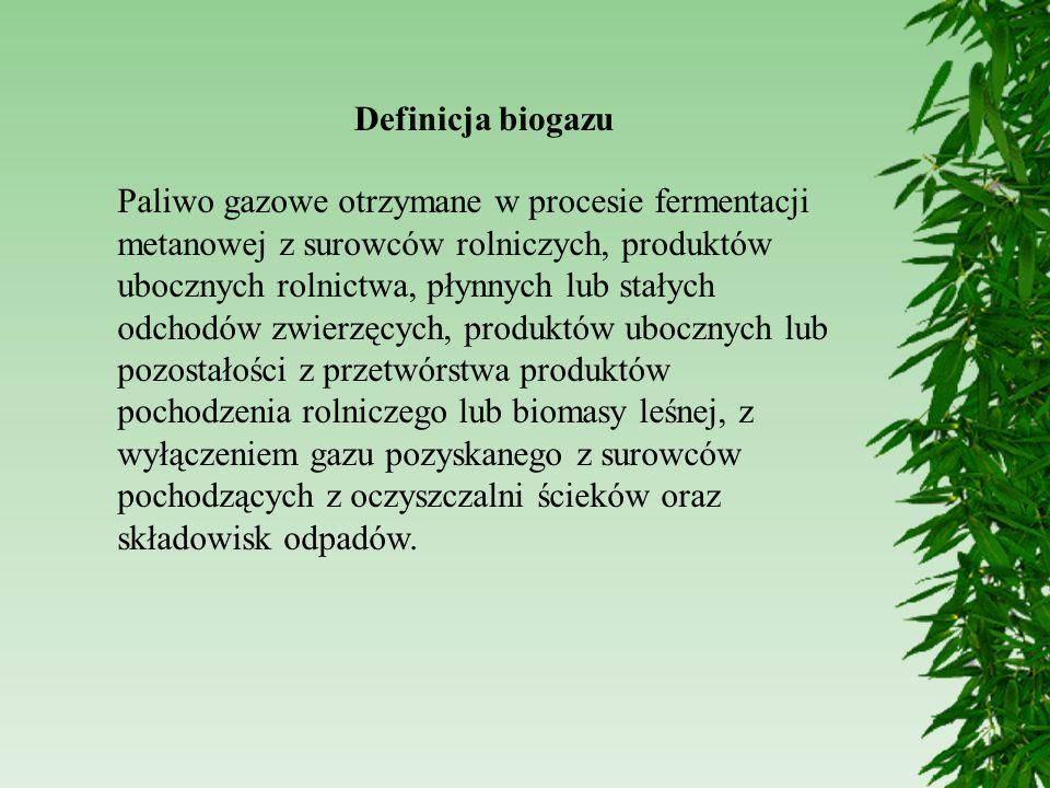 Definicja biogazu Paliwo gazowe otrzymane w procesie fermentacji metanowej z surowców rolniczych, produktów ubocznych rolnictwa, płynnych lub stałych
