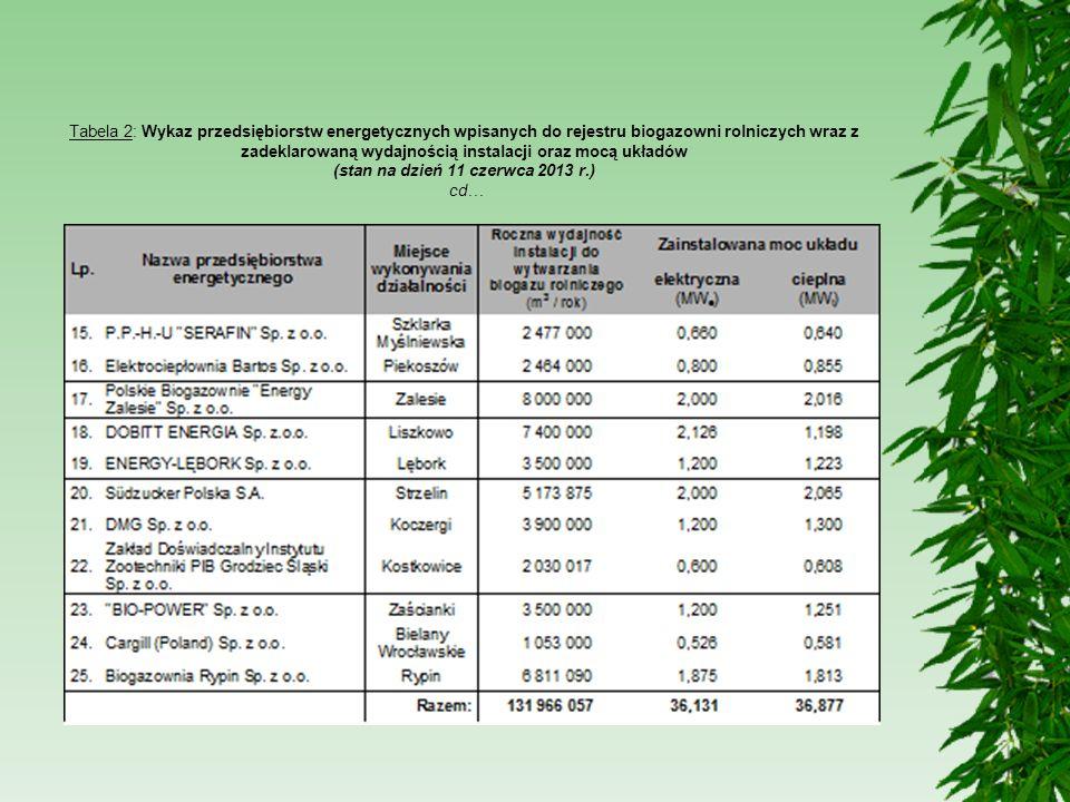 Tabela 2: Wykaz przedsiębiorstw energetycznych wpisanych do rejestru biogazowni rolniczych wraz z zadeklarowaną wydajnością instalacji oraz mocą układ