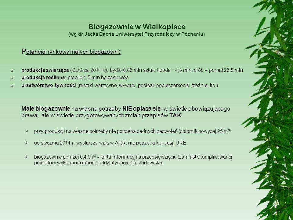 Biogazownie w Wielkoplsce (wg dr Jacka Dacha Uniwersytet Przyrodniczy w Poznaniu) P otencjał rynkowy małych biogazowni : produkcja zwierzęca (GUS za 2