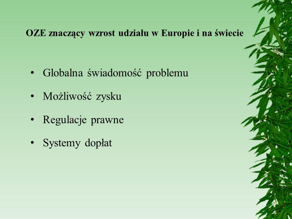 OZE znaczący wzrost udziału w Europie i na świecie Globalna świadomość problemu Możliwość zysku Regulacje prawne Systemy dopłat