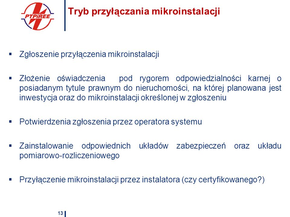 Tryb przyłączania mikroinstalacji Zgłoszenie przyłączenia mikroinstalacji Złożenie oświadczenia pod rygorem odpowiedzialności karnej o posiadanym tytu