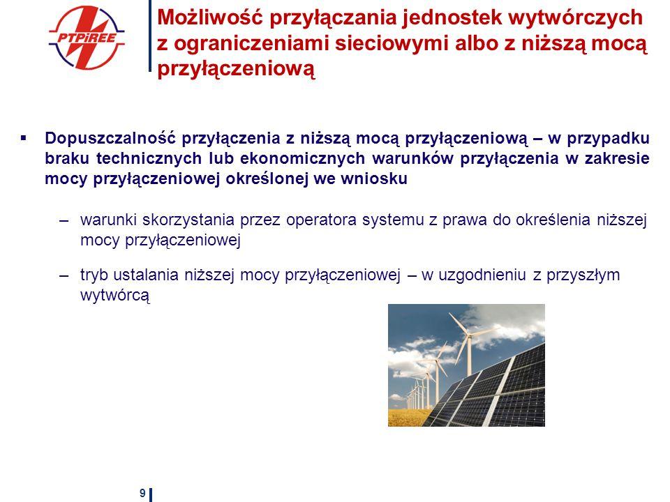 Ułatwienia dla przyłączania mikroinstalacji Uproszczona procedura przyłączenia przy istniejącym przyłączu odbiorcy końcowego Zgłoszenie jako wariant przyłączenia Treść zgłoszenia Wymogi techniczne stawiane mikroinstalacjom Obowiązek operatora do zainstalowania układu pomiarowo-rozliczeniowego Obowiązek informowania operatora o zmianie rodzaju mikroinstalacji oraz zainstalowanej mocy elektrycznej mikroinstalacji w terminie 14 dni od dnia zaistnienia zmiany Wpływ operatora systemu na czas, moc oraz ilość przyłączanych mikroinstalacji 10