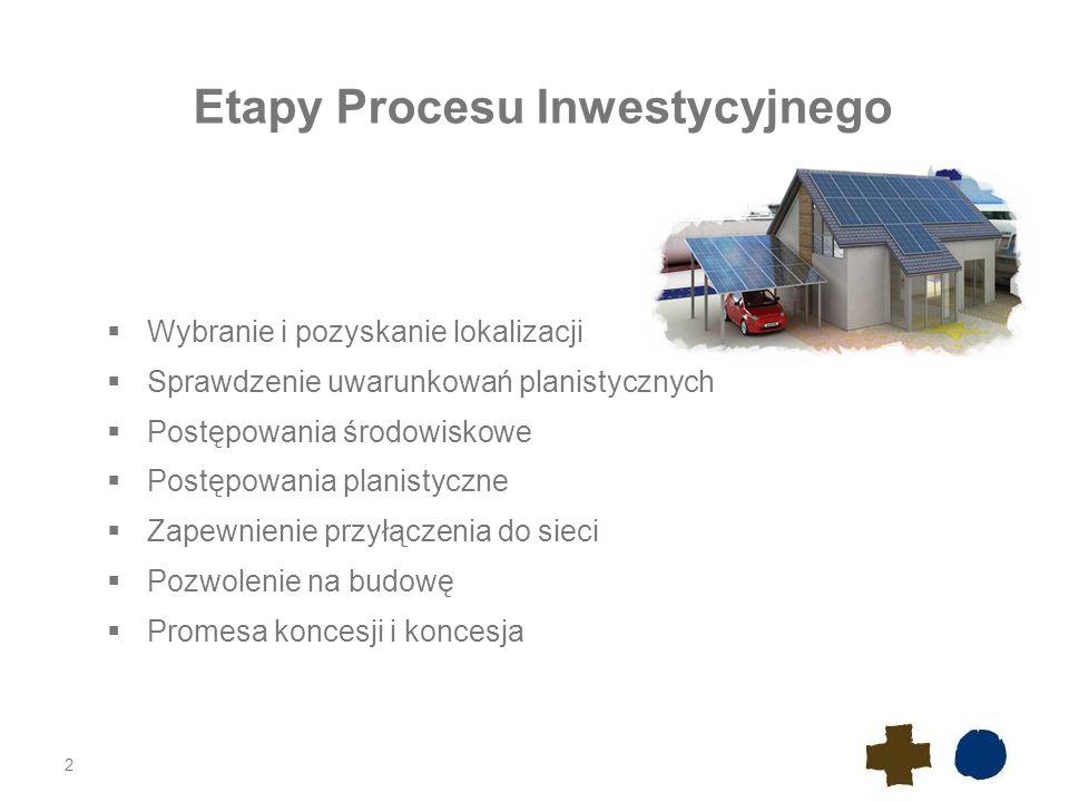 Uzyskanie tytułu prawnego do nieruchomości Wybór lokalizacji na podstawie analizy warunków naturalnych do produkcji energii w instalacji PV Konieczność zapewnienia tytułu prawnego dla całej inwestycji – instalacja PV wraz z infrastrukturą towarzyszącą (sieci i drogi); Tytuły prawne do nieruchomości: a)Prawo własności b)Dzierżawa c)Użytkowanie d)Najem e)Służebności gruntowe oraz służebność przesyłu 3