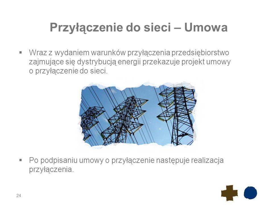 Przyłączenie do sieci – Opłaty Za przyłączenie źródeł współpracujących z siecią pobiera się opłatę ustaloną na podstawie rzeczywistych nakładów poniesionych na realizację przyłączenia.