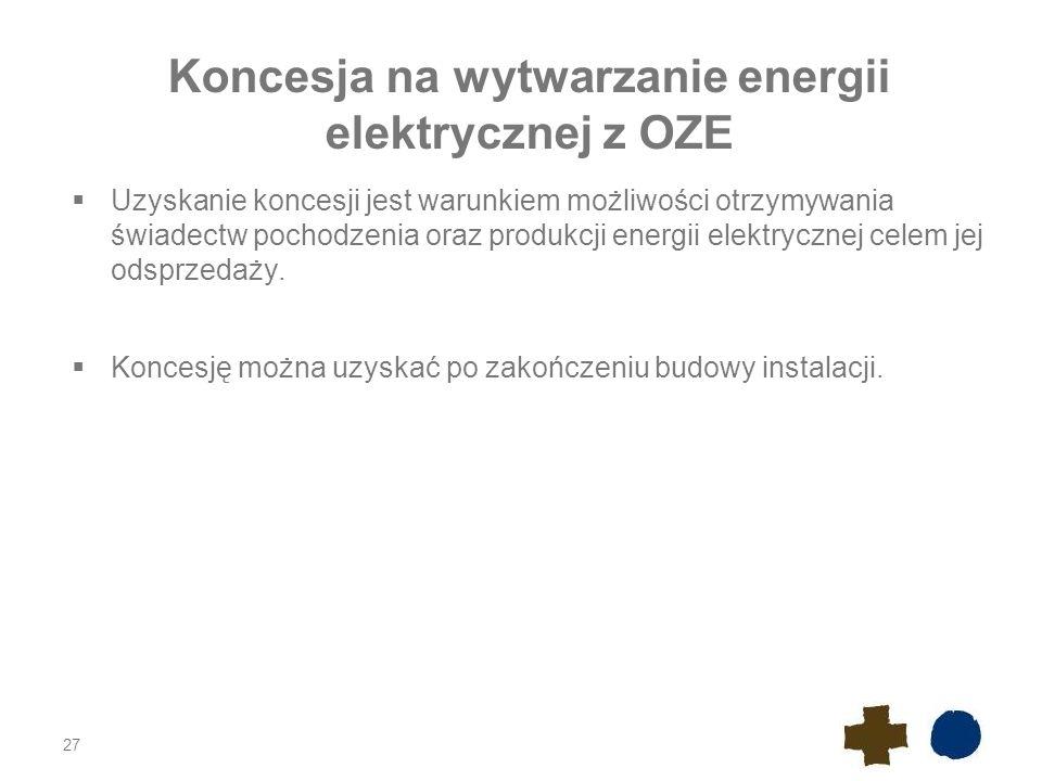 Promesa koncesji Istnieje możliwość uzyskania promesy udzielenia koncesji na wytwarzanie energii elektrycznej.