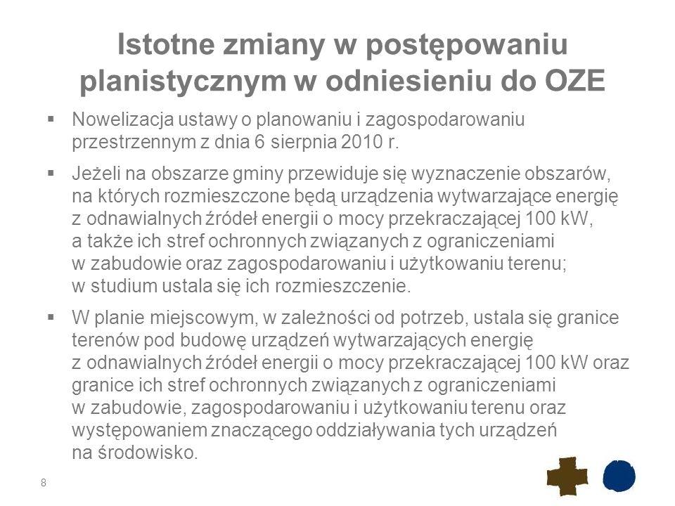 Istotne zmiany w postępowaniu planistycznym w odniesieniu do OZE Nowelizacja weszła w życie z dniem 25 września 2010 r.